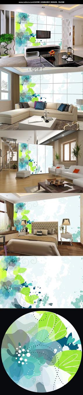 现代简约清新花卉背景墙