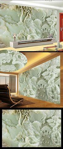 玉雕中式古典山水壁画背景墙