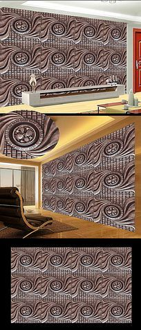 3D立体欧式皮革软包花电视背景墙