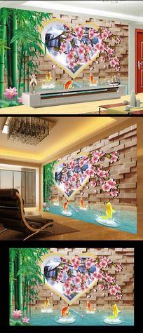 爱心桃花3D客厅电视背景墙