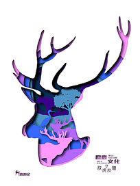 鹿游记之敌虎友鹭创意海报