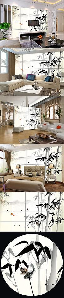 水墨竹子中式背景墙