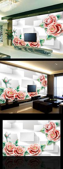 3D立体彩雕浮雕玫瑰花电视背景墙