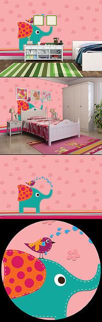 儿童房背景墙模版下载|粉色儿童房背景墙