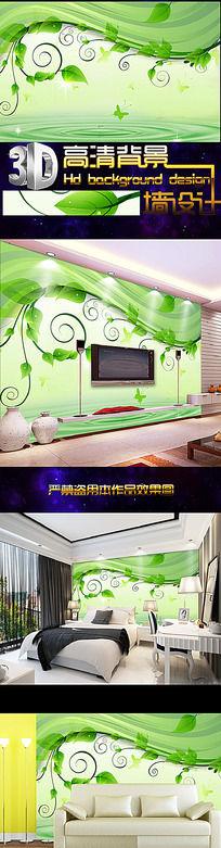 绿色花藤藤蔓绿藤绿叶电视背景墙