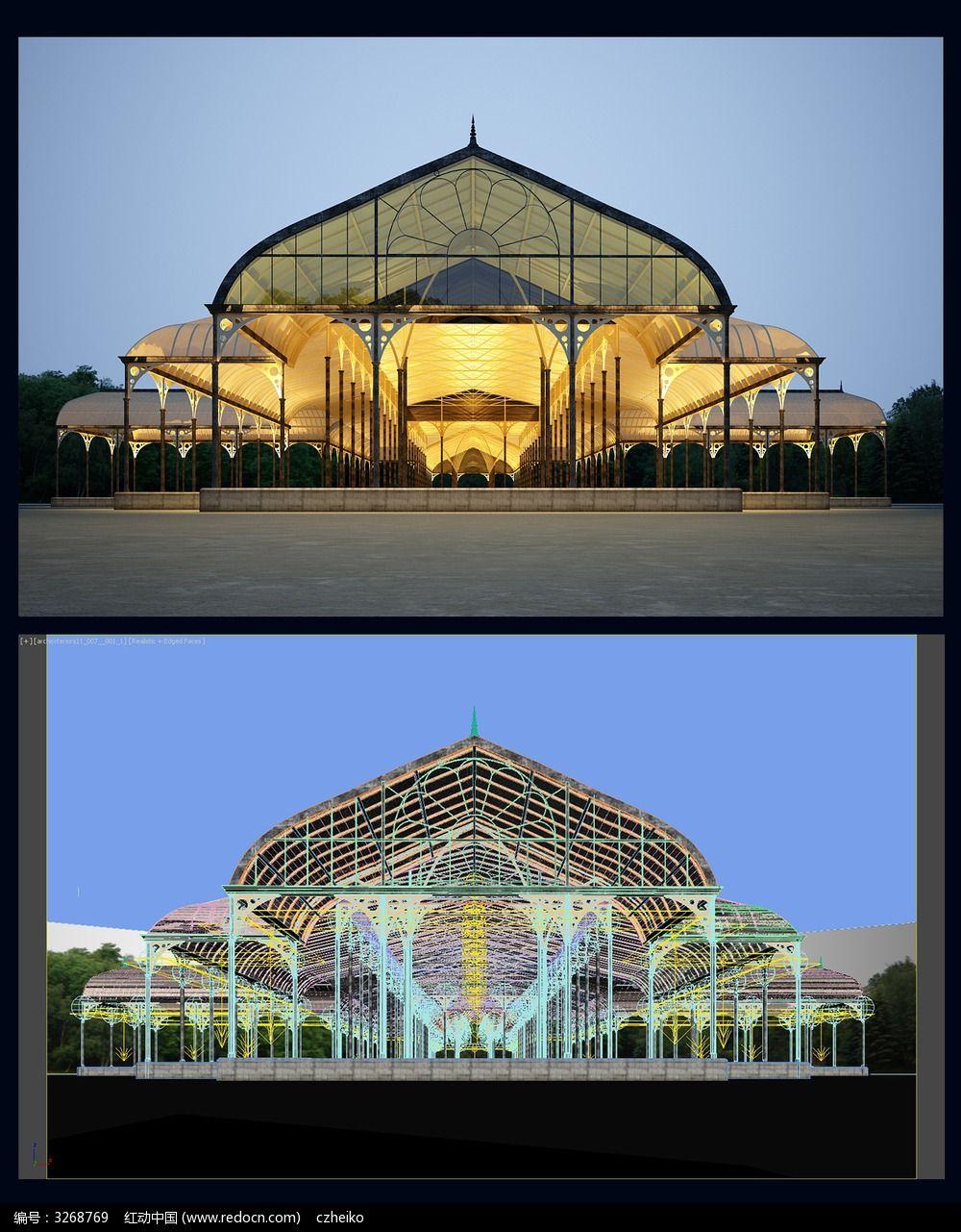 欧式户外广场夜景3d模型图片