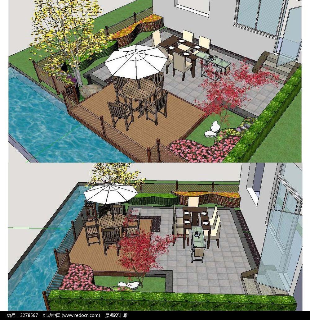 别墅庭院花园景观草图大师sketchup模型