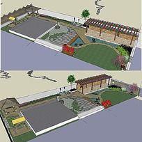 草图大师sketchup别墅庭院花园景观模型