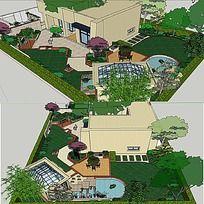 草图大师sketchup别墅庭院精品花园景观模型
