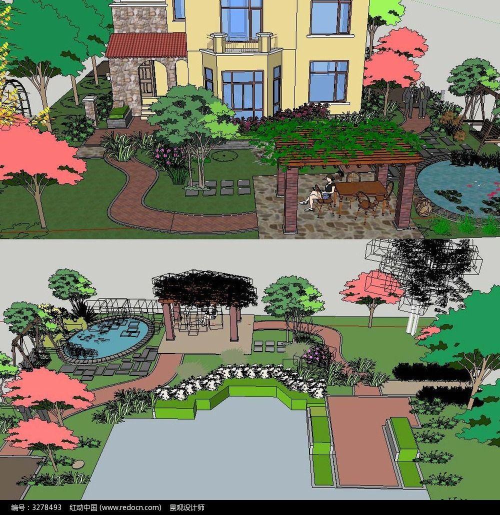 草图大师sketchup欧式庭院花园景观模型图片