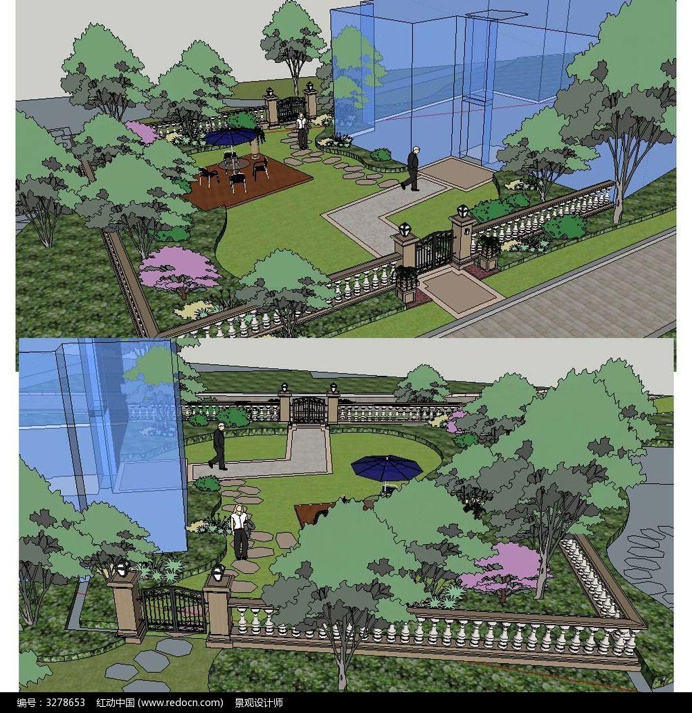 草图大师sketchup私家庭院花园景观模型