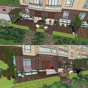 草图大师sketchup小区庭院景观模型