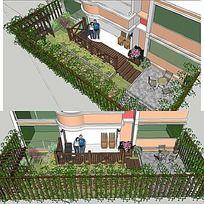 草图大师sketchup小庭院花园景观模型 其他
