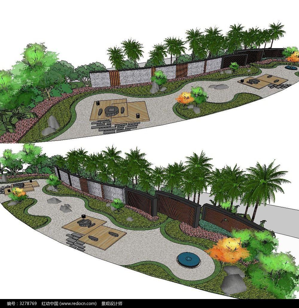 草图大师sketchup小庭院花园景观模型