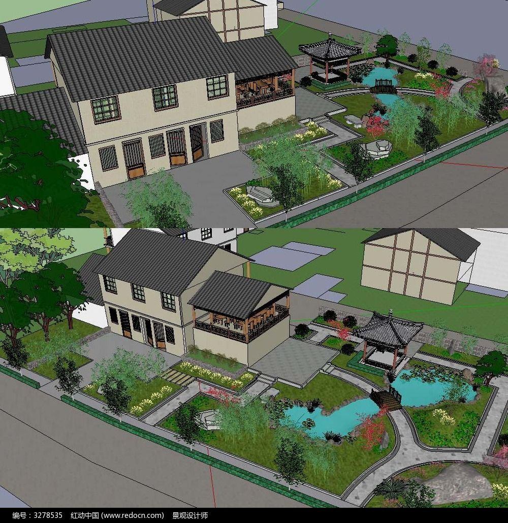 草图大师sketchup现代中式庭院花园景观模型
