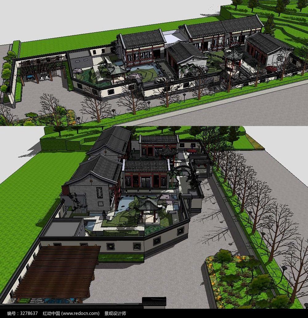 草图大师sketchup中式建筑庭院花园景观模型