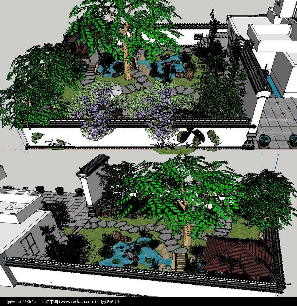 草图大师sketchup中式庭院花园景观模型