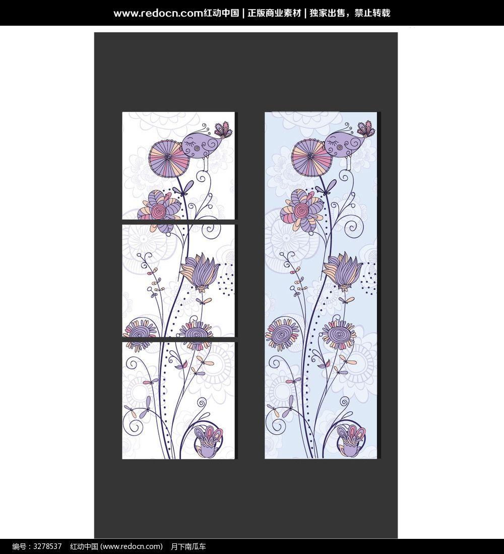 韩国手绘花鸟无框画
