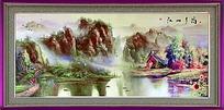 江山多娇山水油画风景图