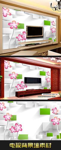 抽象粉色花朵3D电视背景墙装饰画