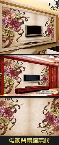 金色欧式手绘风格花朵背景墙装饰画