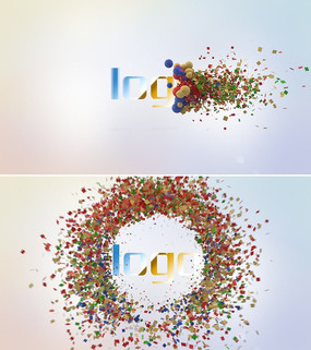圆球粒子破裂LOGO演绎片头ae模板