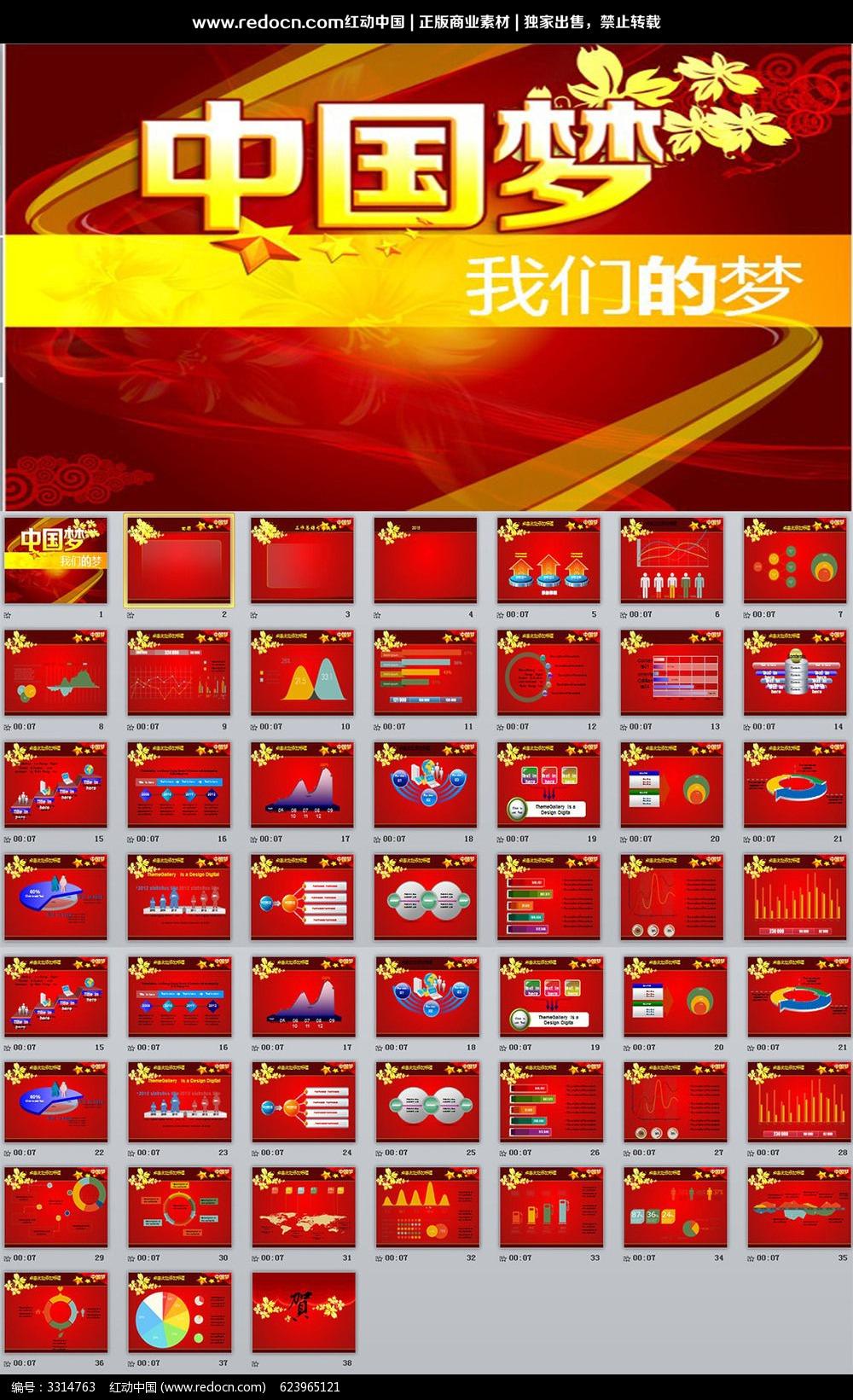 红色中国梦ppt模板_ppt模板/ppt背景图片图片素材