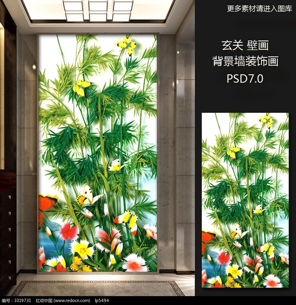 古典 中国风 大气 雕刻 立体玄关 花鸟 手绘-5款 3D立体壁画山水花鸟