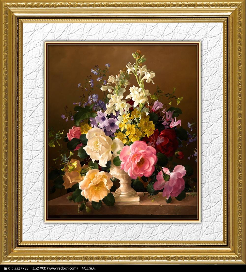 古典静物花卉油画图片