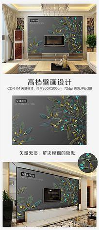 高档金属灰彩色手绘线稿树叶背景墙CDR