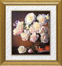 简洁静物花卉油画