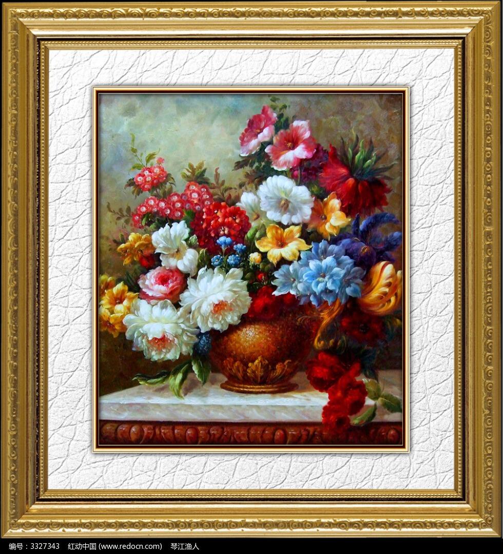 欧式花卉油画_装饰画/电视背景墙图片素材
