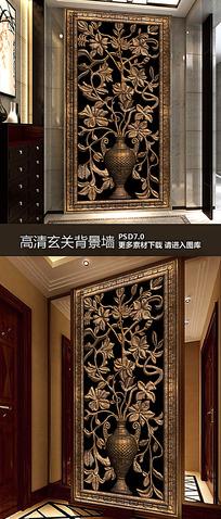 古典花纹玄关背景装饰画