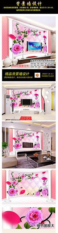 梦幻3D绿叶玫瑰花背景墙