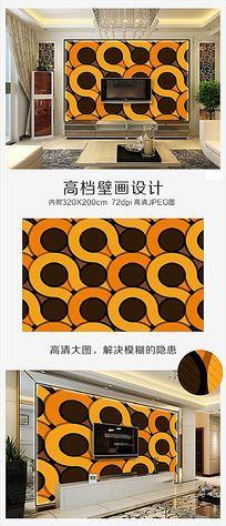 豹纹式时尚电视背景墙壁画矢量