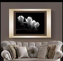 黑白花卉装饰画