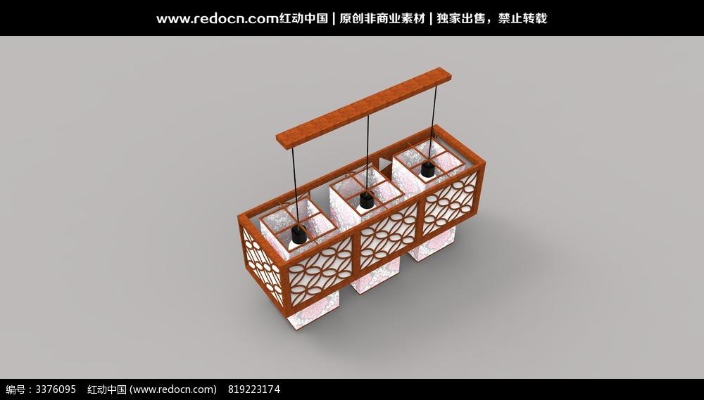 中式餐厅吊灯3d模型