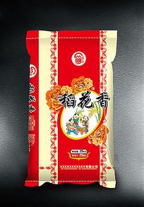 红色稻花香米袋包装设计
