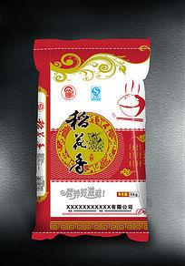 红色米袋稻花香米包装设计