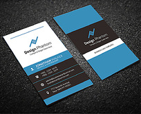 蓝色简洁竖版创意商务名片