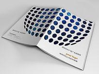 蓝色科技放射线状画册封面设计