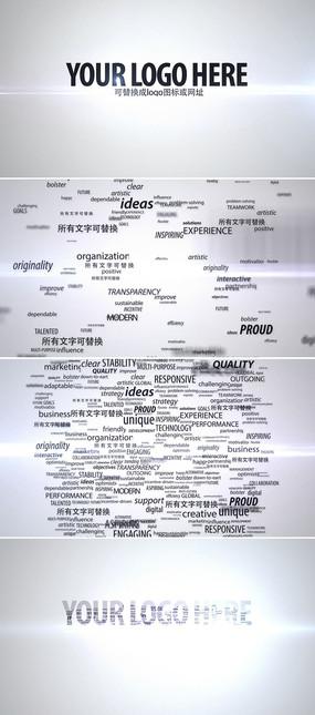 文字汇聚LOGO展示AE片头模板