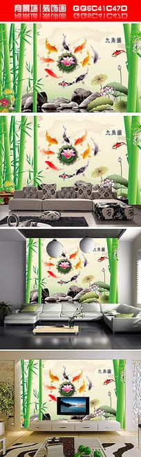 3D立体扩展空间九鱼图psd背景墙装饰画