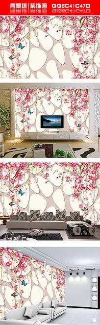 3D立体扩展空间墙面吊花蝴蝶背景墙装饰画