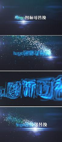 粒子碎片汇聚成企业logo标识演绎ae模板