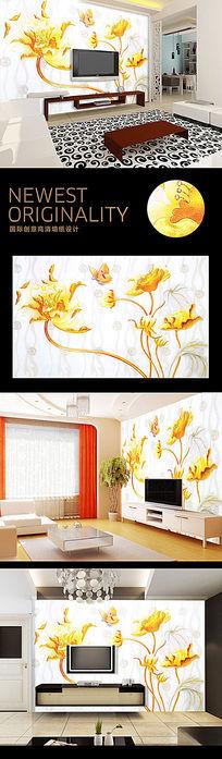 唯美金色蝴蝶电视背景墙
