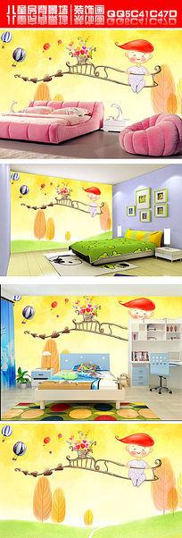 现代简约手绘可爱卡通儿童温暖电视背景墙