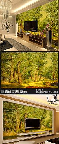 油画风格树木风景电视背景墙装饰画