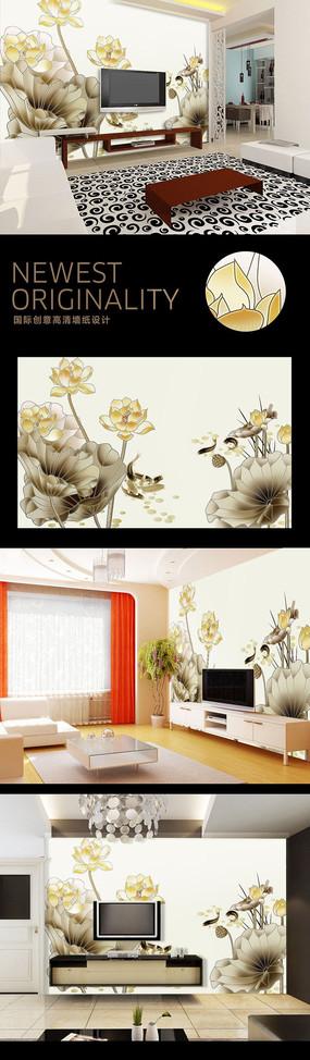 中国水墨风自然风光电视背景墙