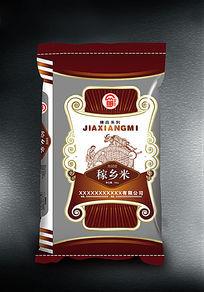 咖啡色大米包装袋子设计